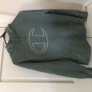 Olive Green logo front champion hoodie